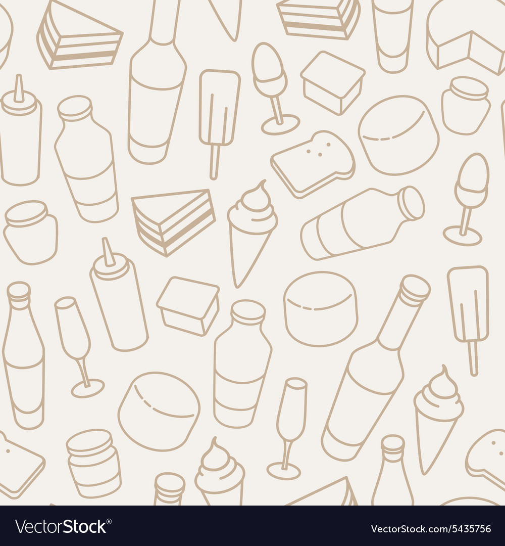 Vintage food thin line icon seamless pattern vector
