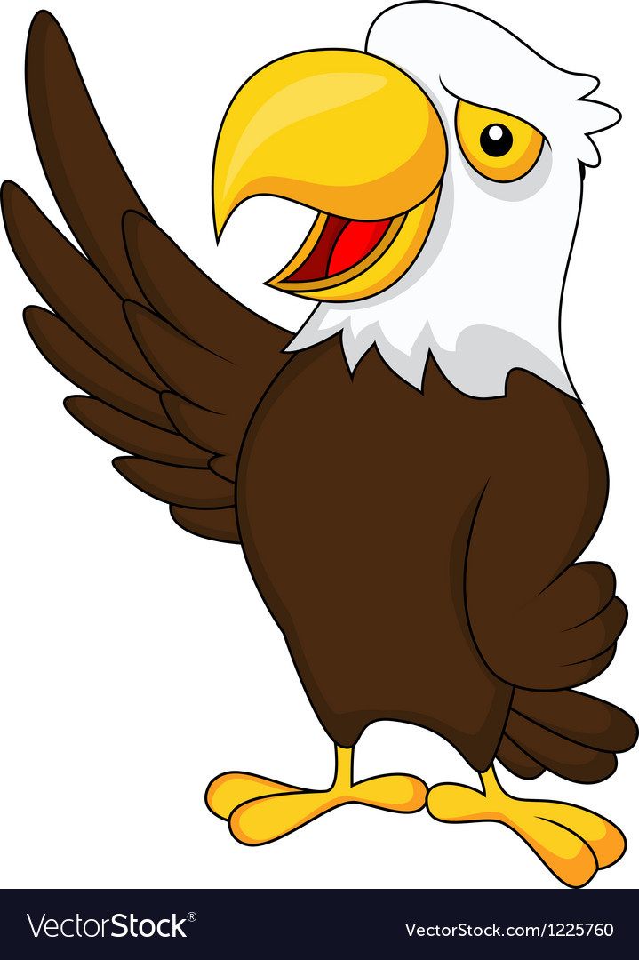 Eagle cartoon waving vector