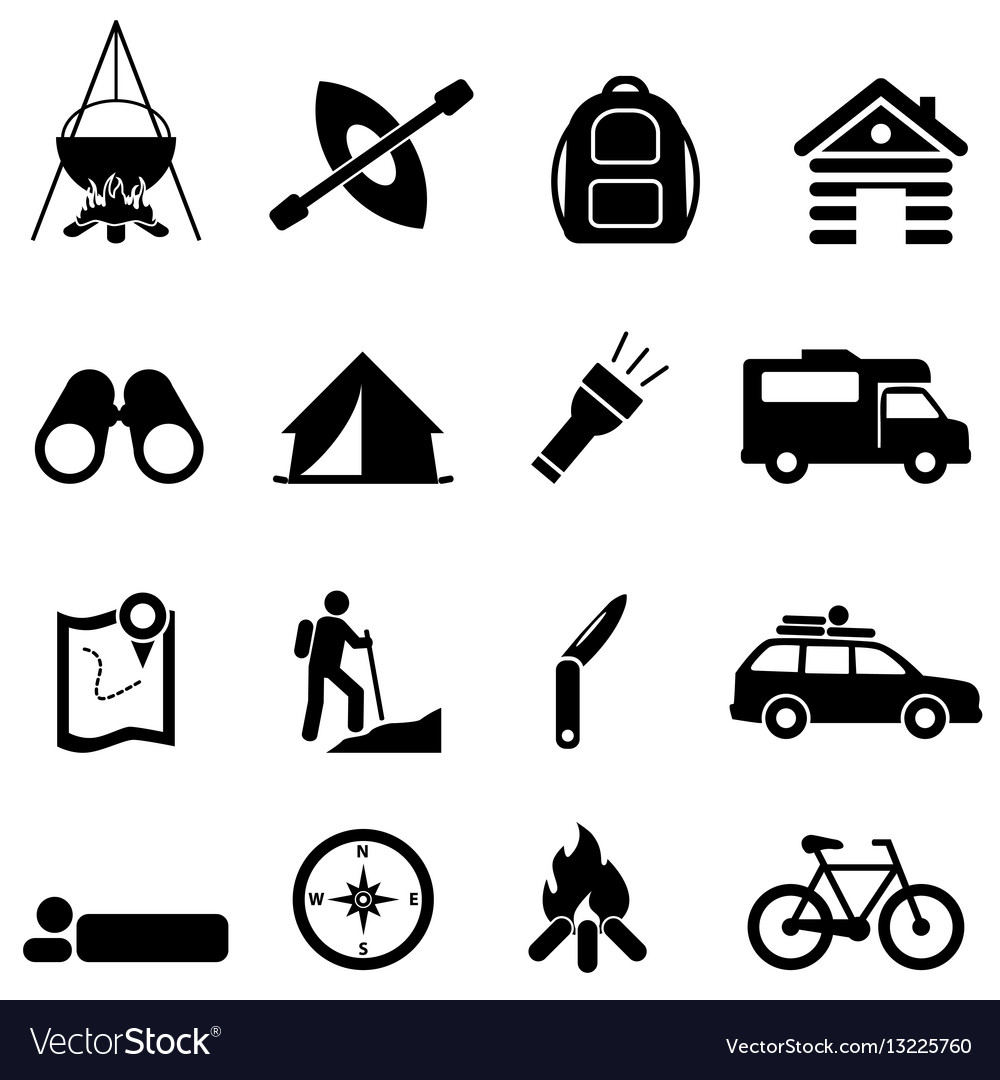 Leisure camping and recreation icons vector