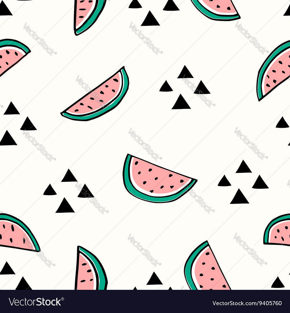 Seamless watermelon pattern vector