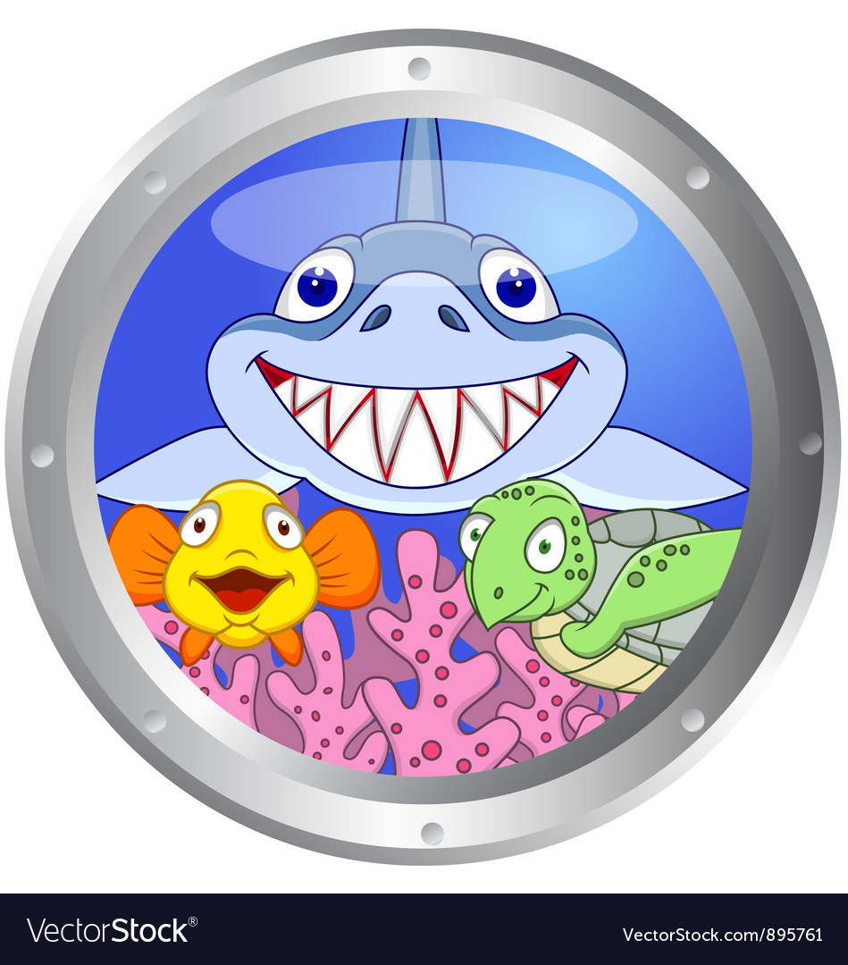 386funny fish and turtle vector