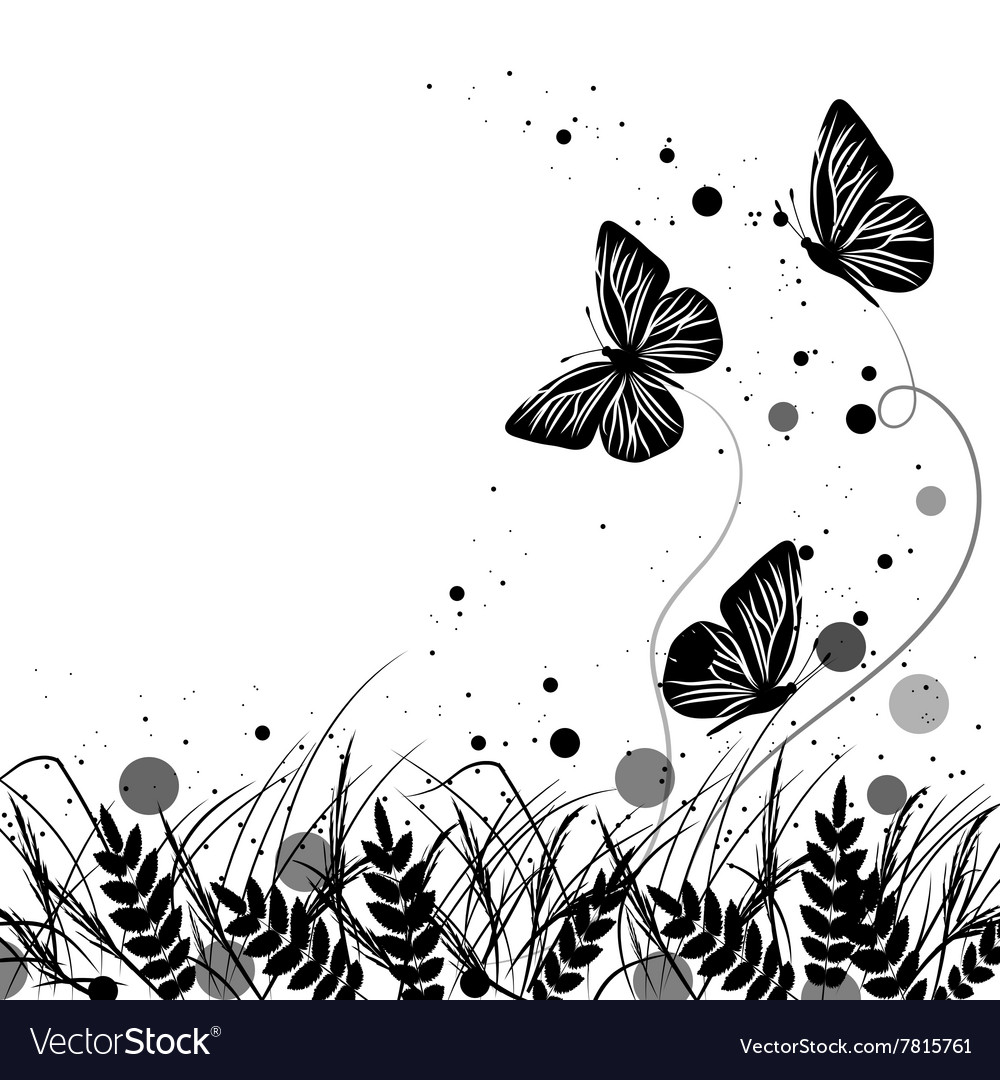 Grass and butterflies silhouettes background vector