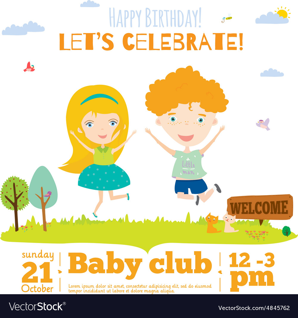 Birthday invitation card on baby party with vector