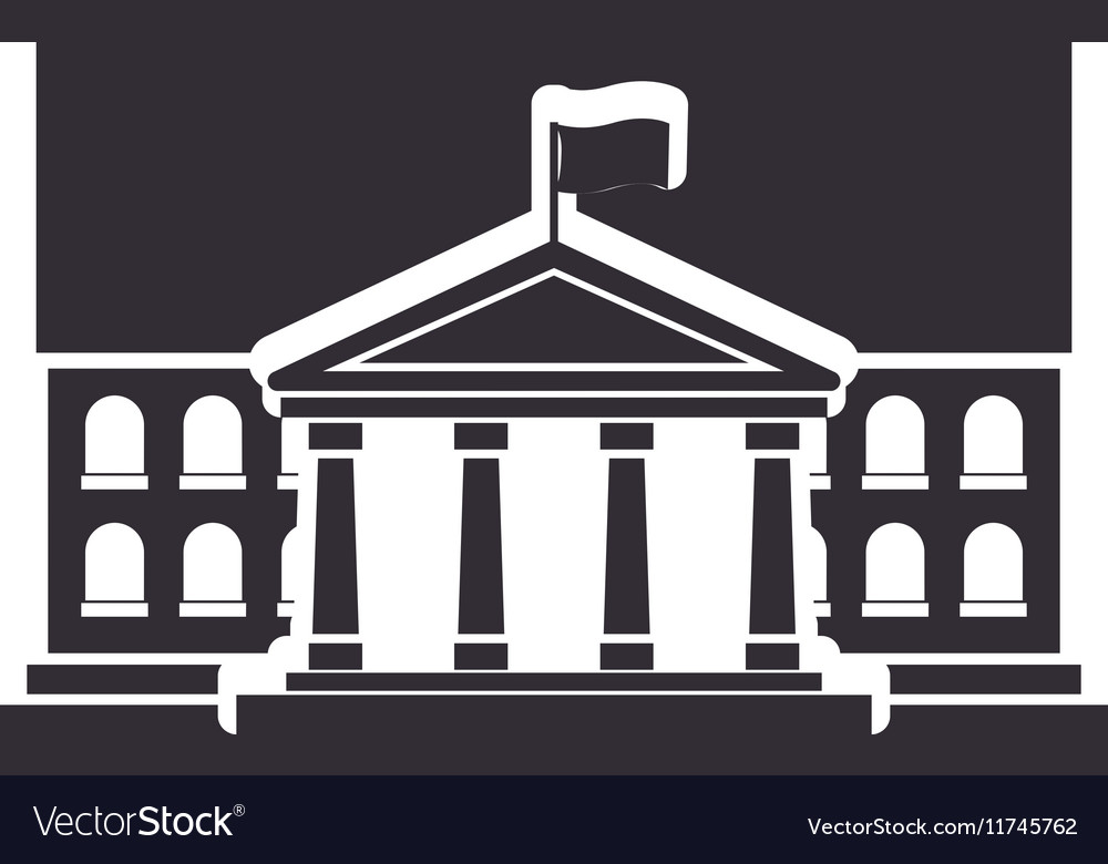 Black silhouette town hall structure with flag vector