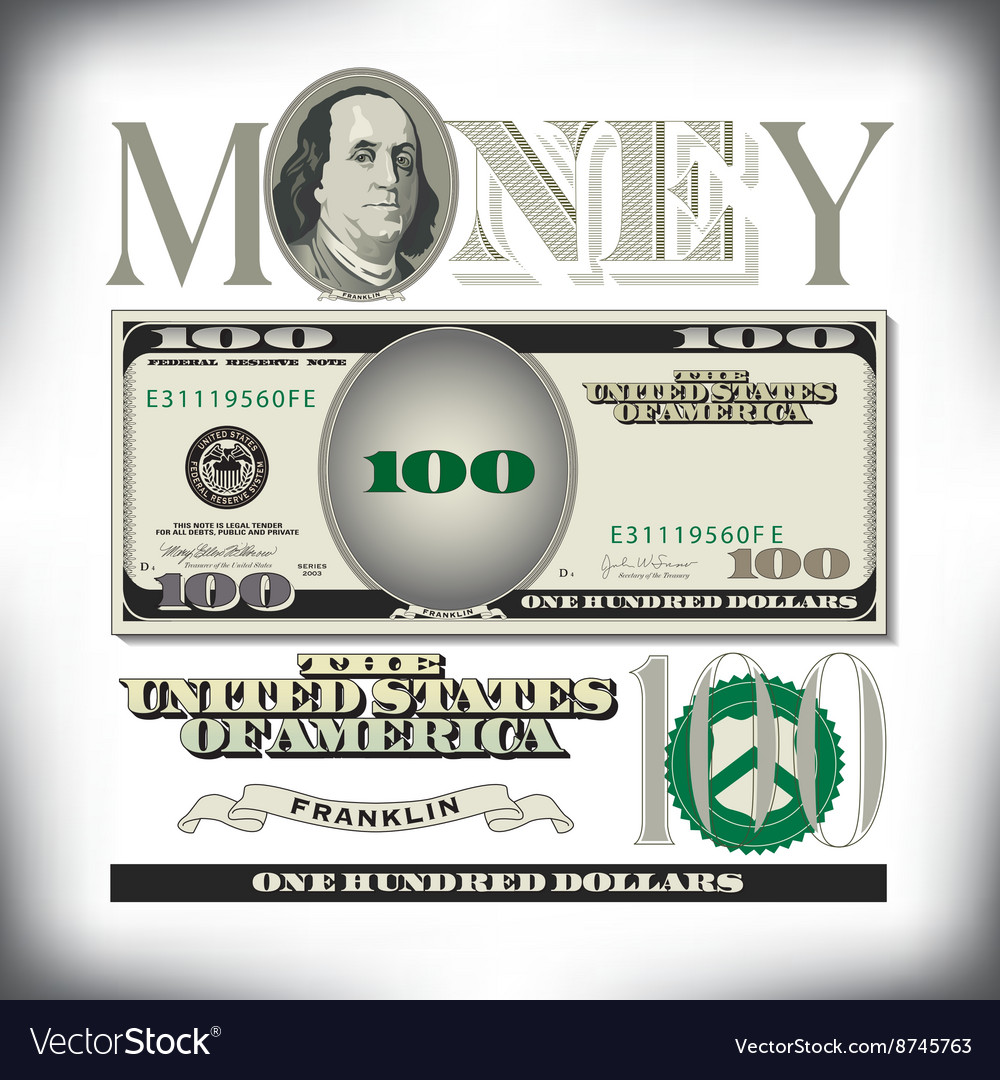 Money 100 fade vector