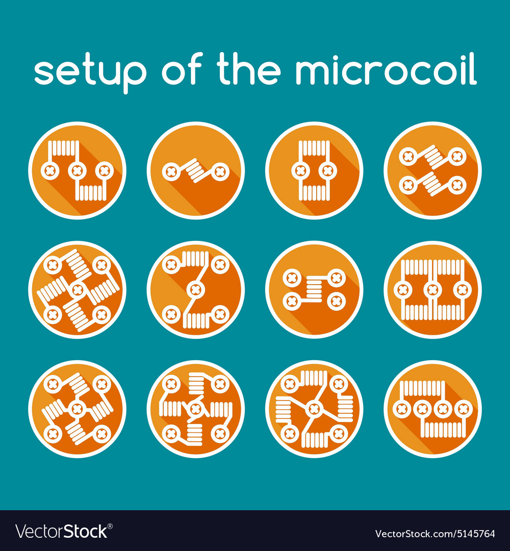 Color set of icons setup of the microcoil vector