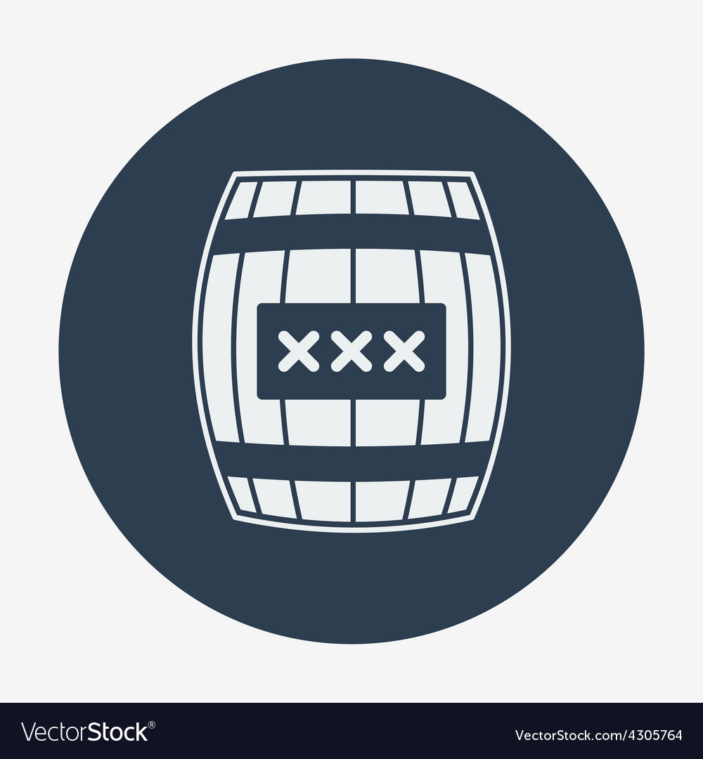 Pirate icon cask or barell flat design vector