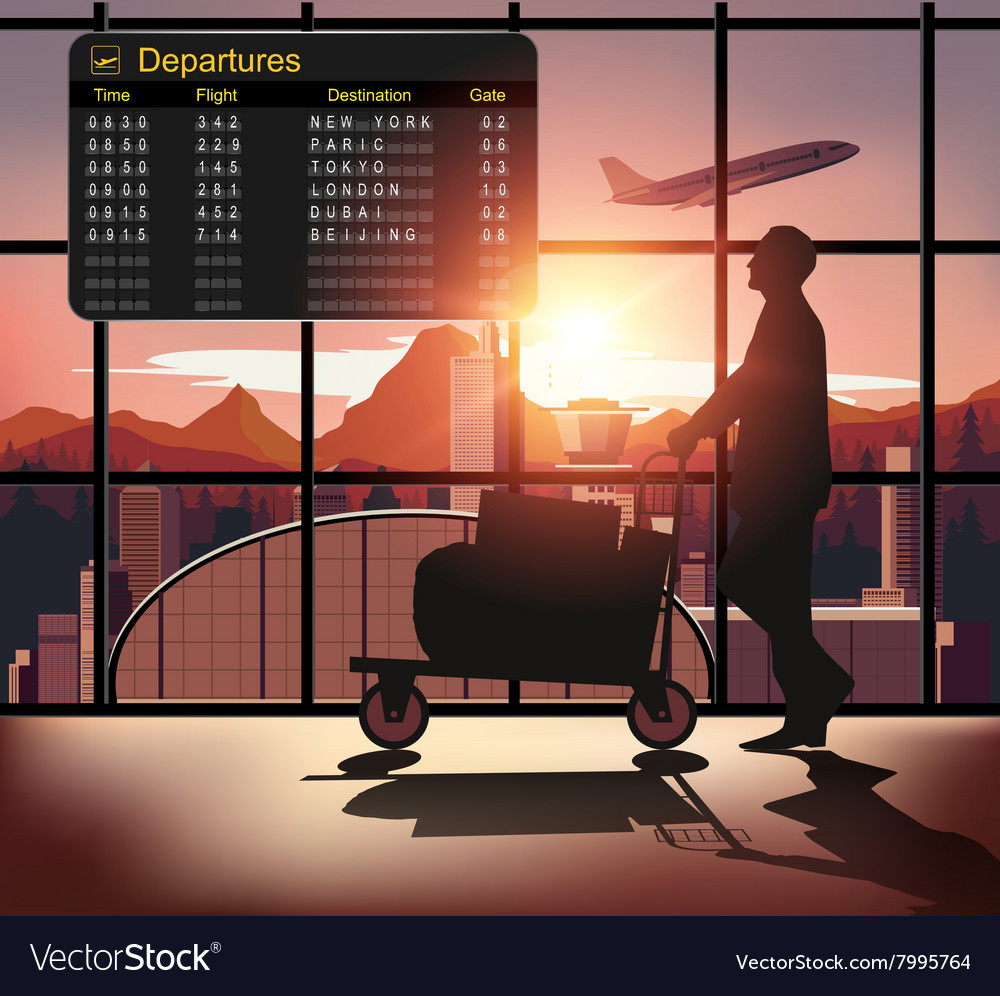 Silhouette people in the airport vector