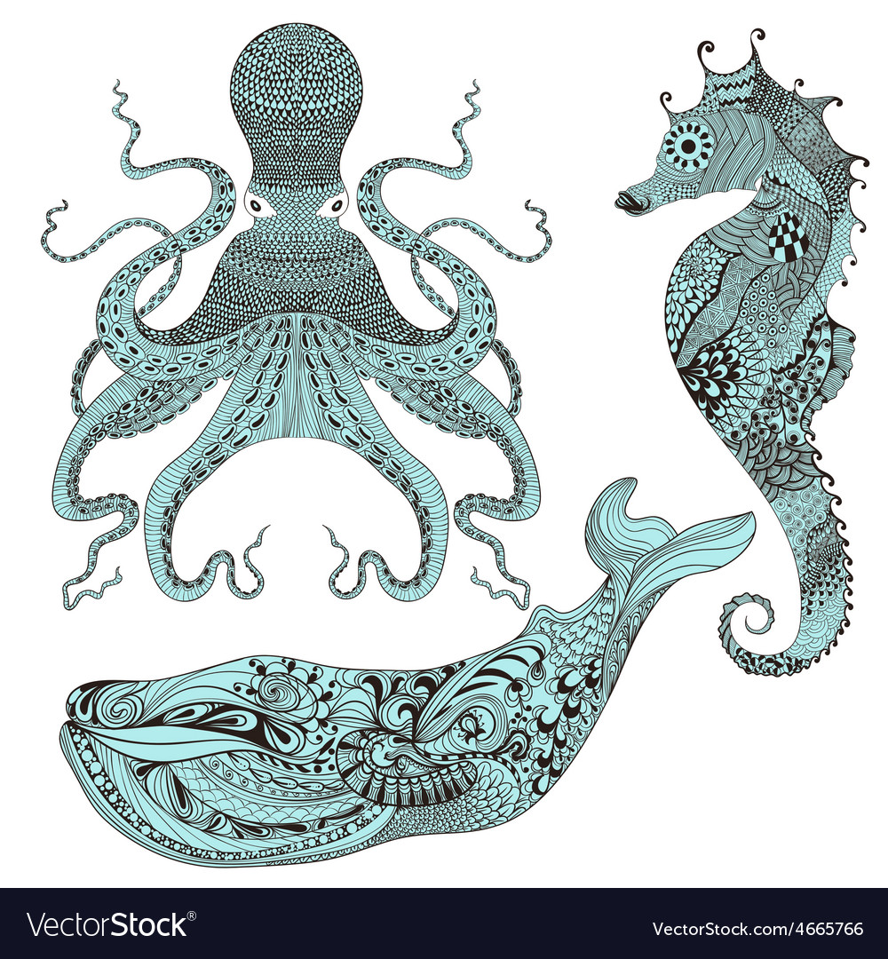 Zentangle stylized octopus whale and sea horse vector
