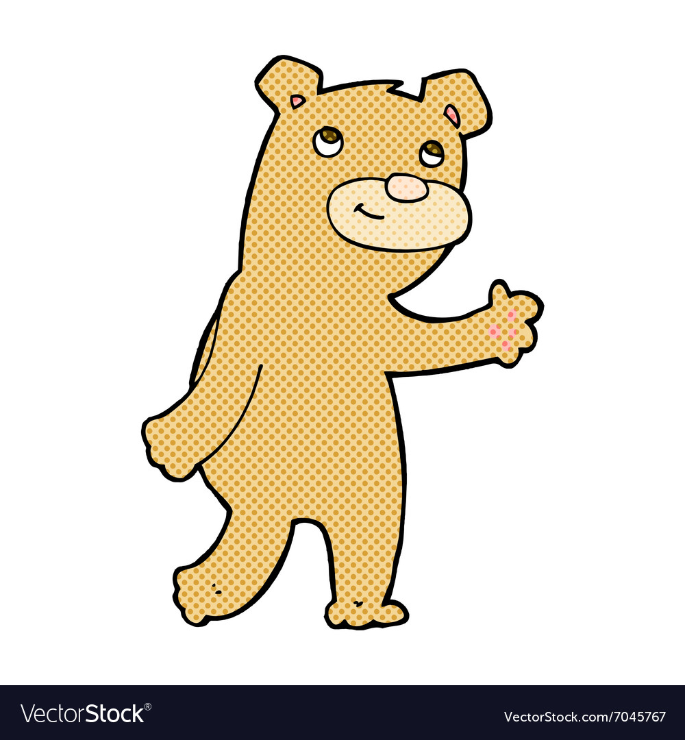 Comic cartoon happy waving bear vector