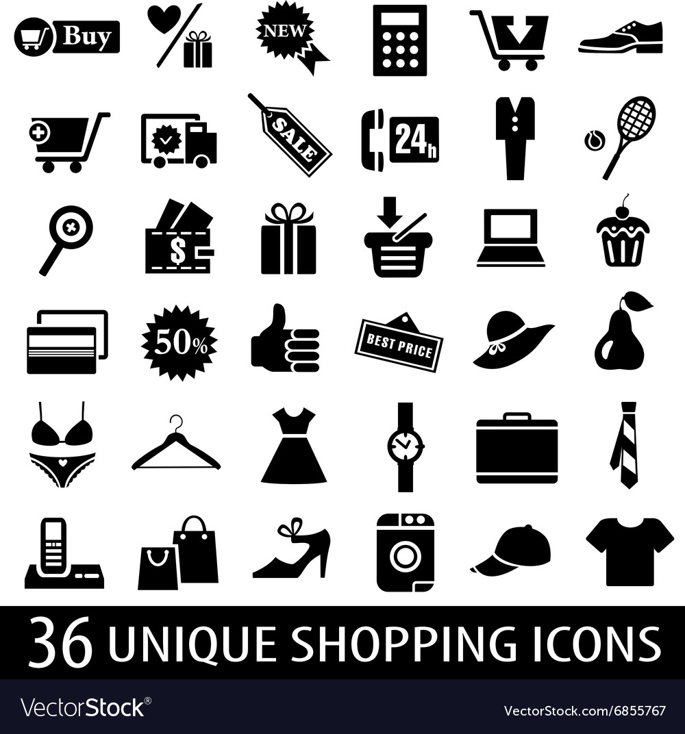 Set shopping icons vector