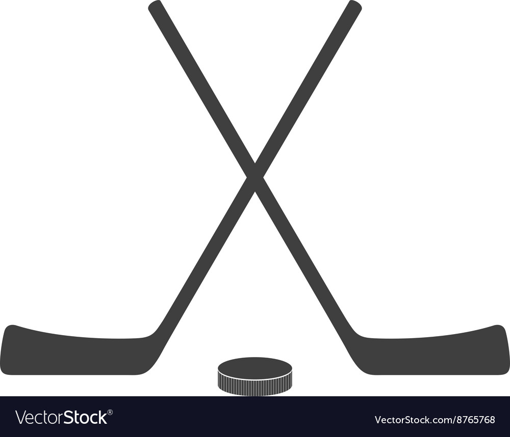Hockey sticks and puck grey minimal logo design vector