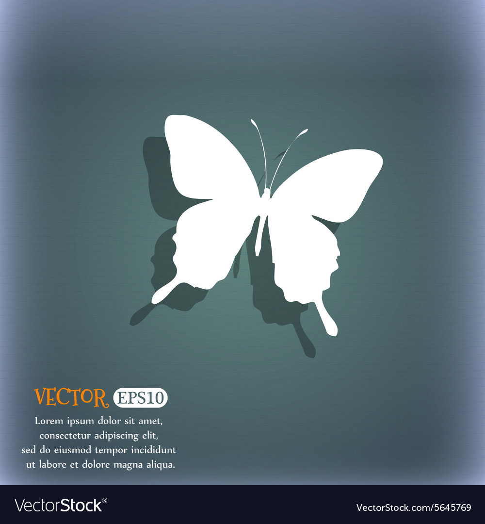 Butterfly icon symbol on the bluegreen abstract vector