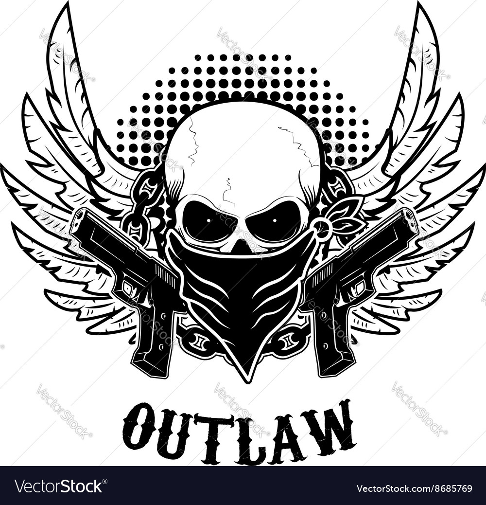 Outlaw tshirt print design template skull with vector