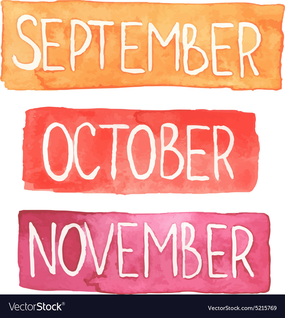 Watercolor tablets with autumn months vector