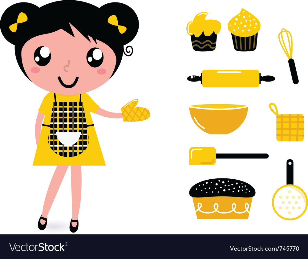 Girl with kitchen accessories vector