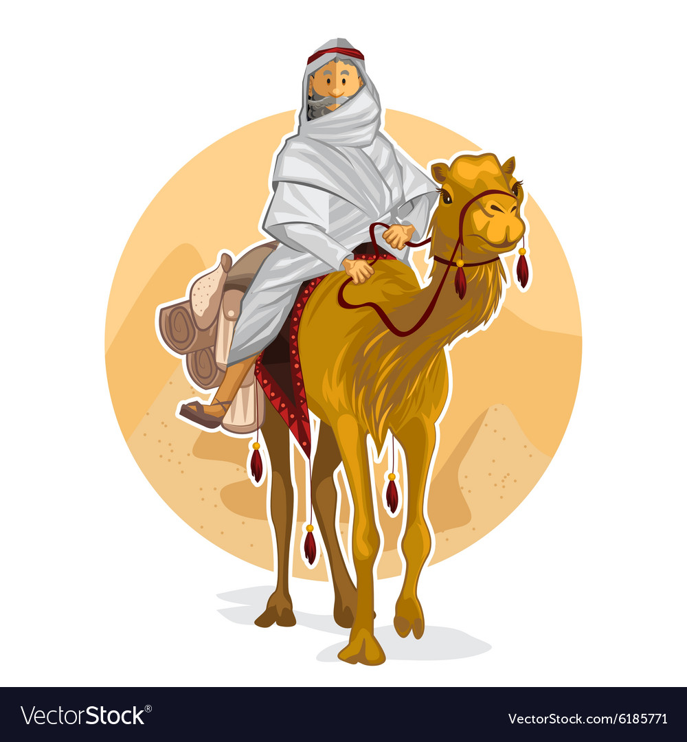 Arabian bedouin riding a camel islamic al hijra vector