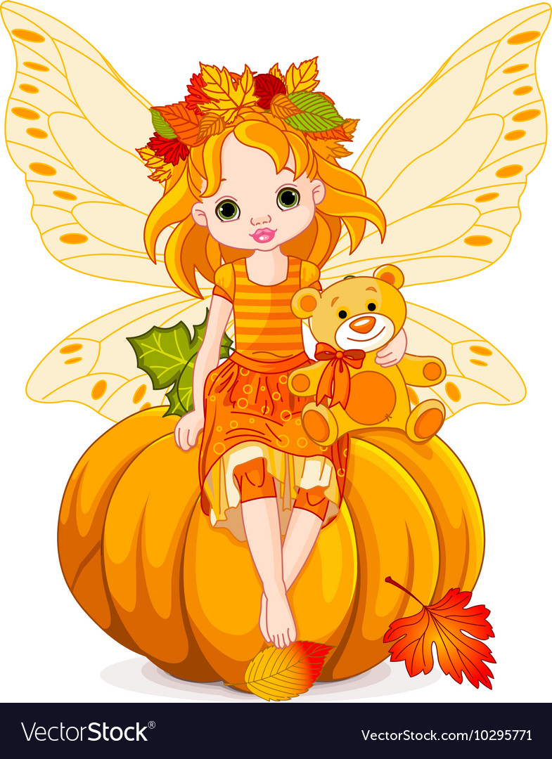 Autumn little fairy vector