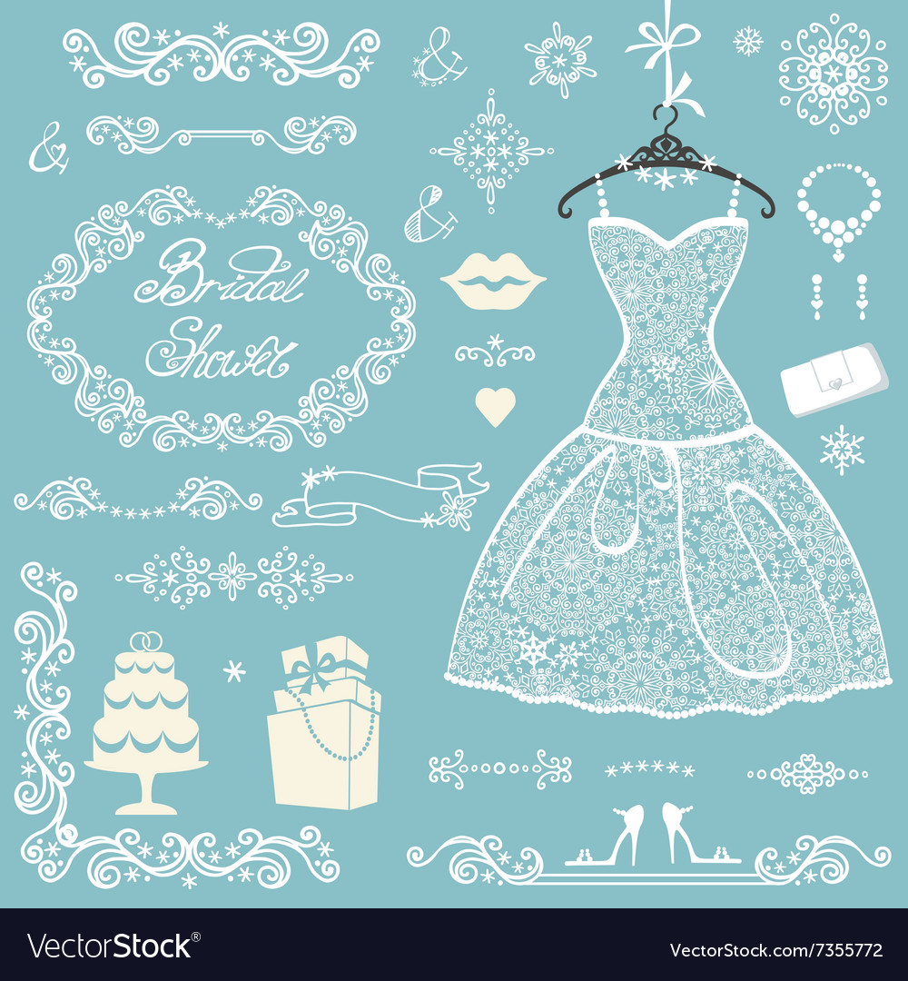 Bridal shower decoration setwinter wedding with vector