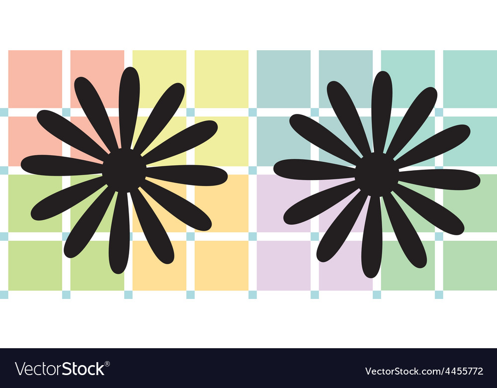 Daisies over soft pastel plaid vector