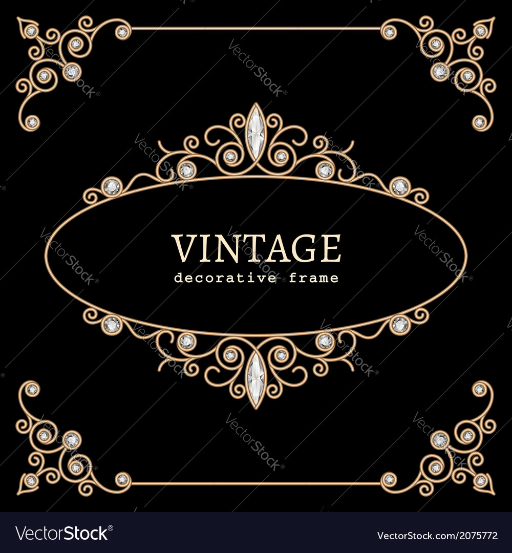 Jewelry gold vignette vector
