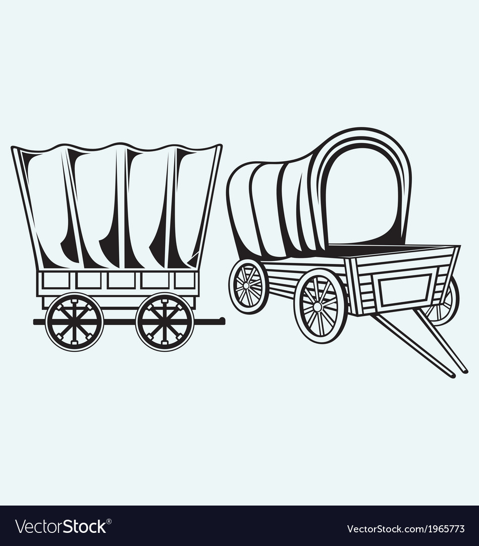 Vintage wagon to transport vector
