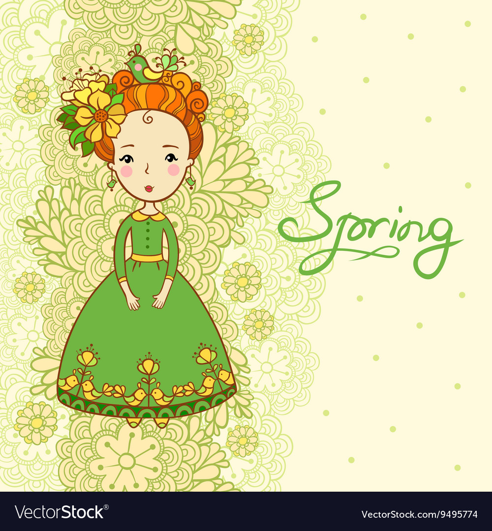 Card spring flowers and girl vector