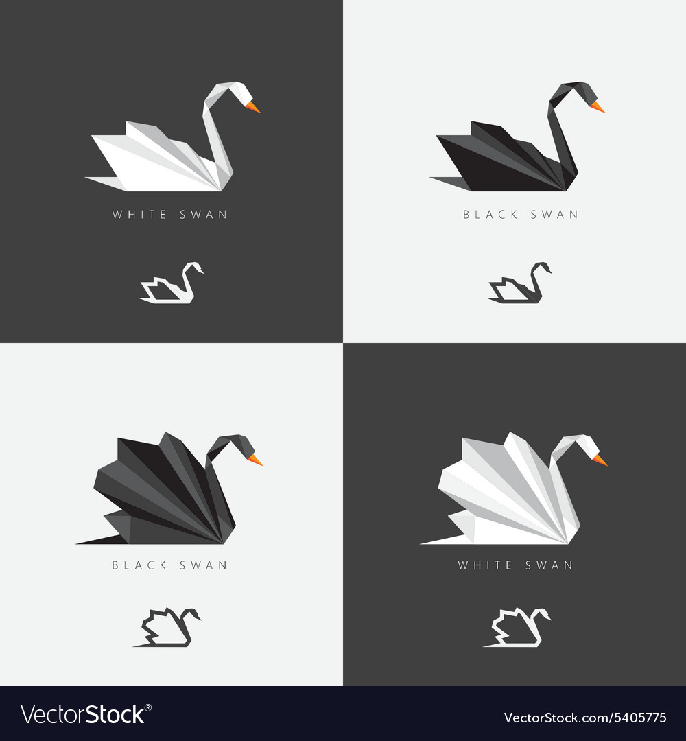 Set of polygonal swans vector