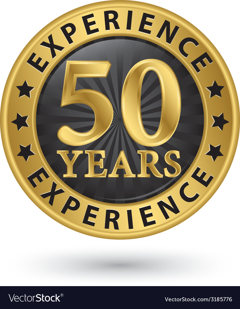 50 years experience gold label vector