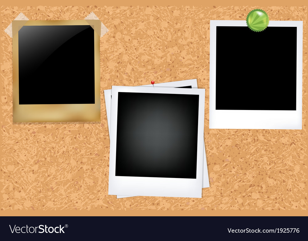 Cork board with photos vector