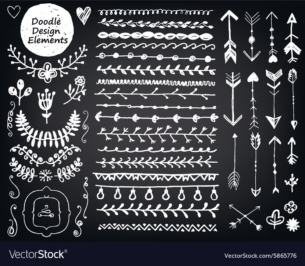 Floral decor set collection of hand drawn vector