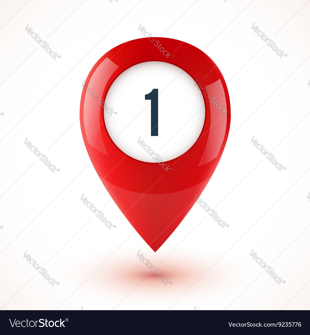 Red realistic 3d glossy map point symbol vector