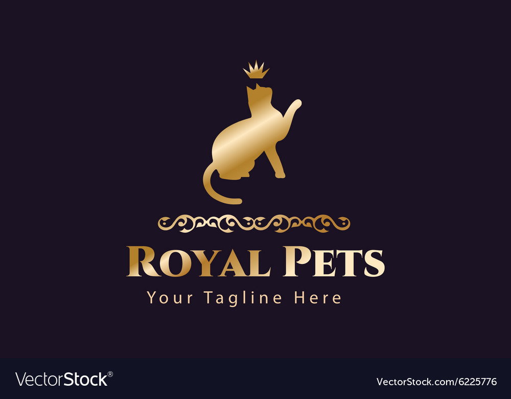Retro vintage cat monogram logo vector