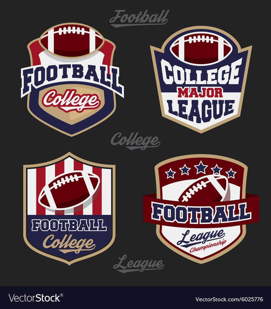 Set of football college league badge logo vector