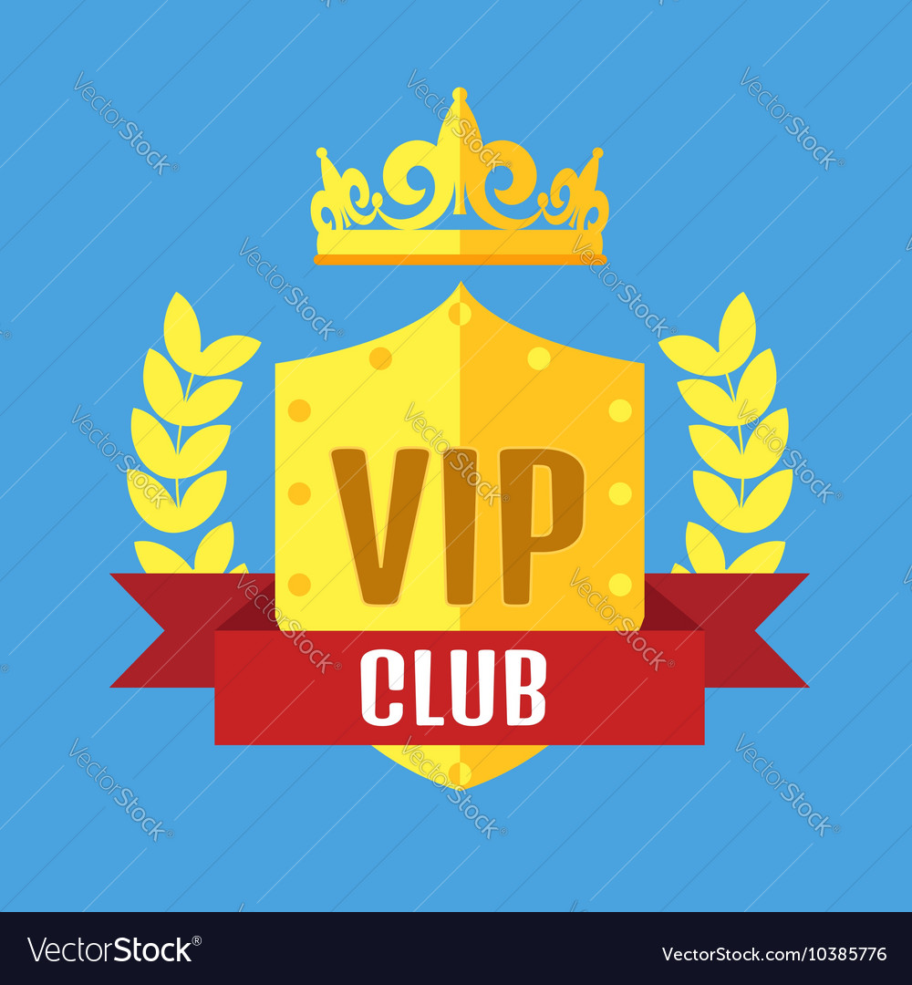 Vip club logo in flat style vector