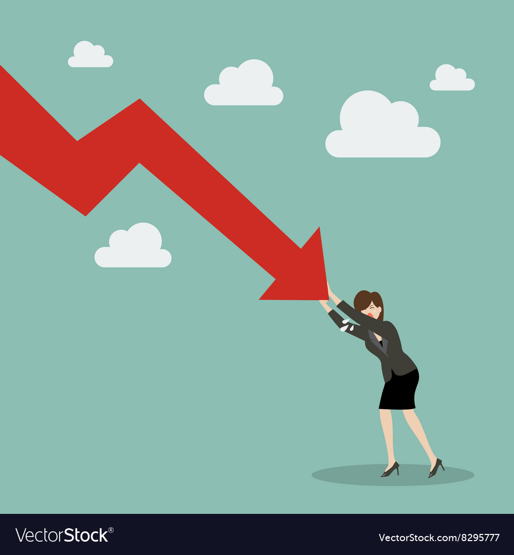 Business woman pushing hard against falling graph vector