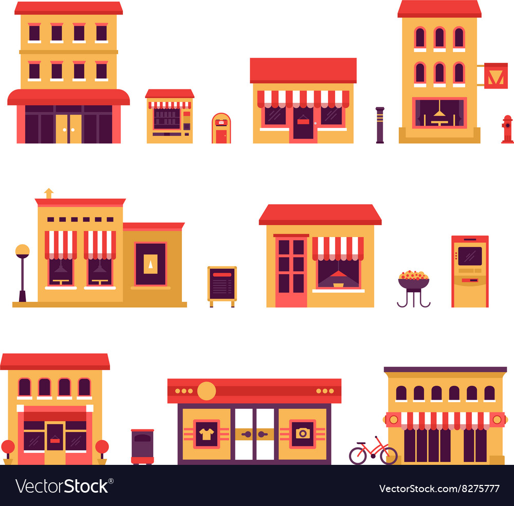 Local business buildings vector