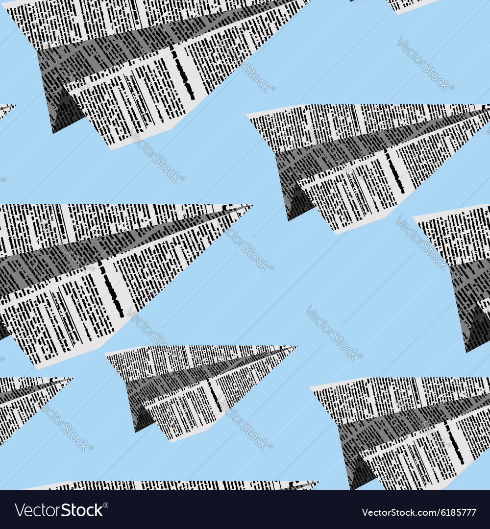 Paper planes seamless pattern on a blue background vector