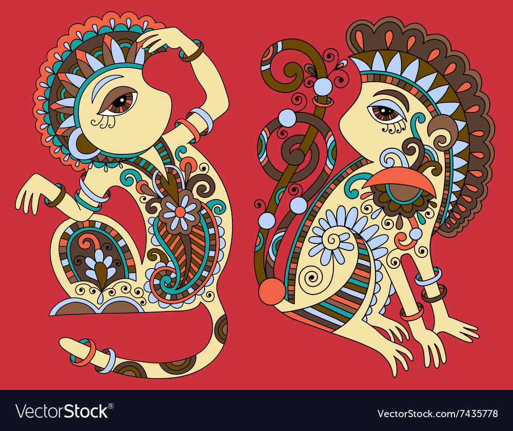 Line art drawing of two ethnic monkey in vector