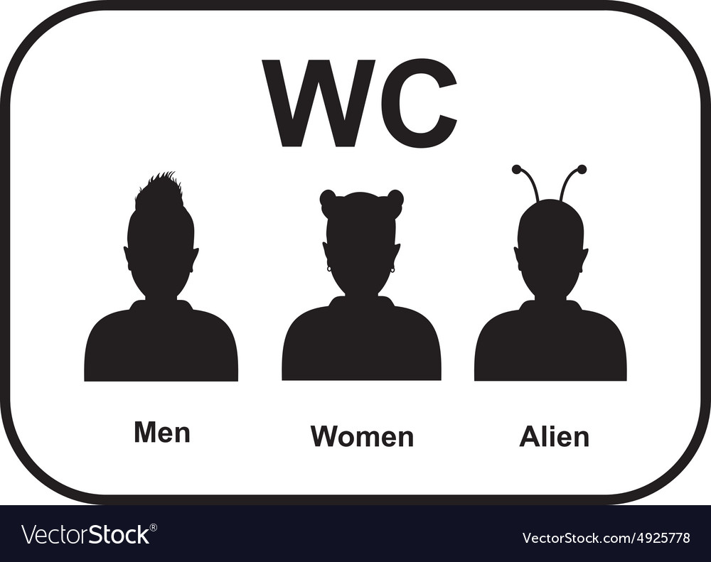 Male and female alien restroom vector