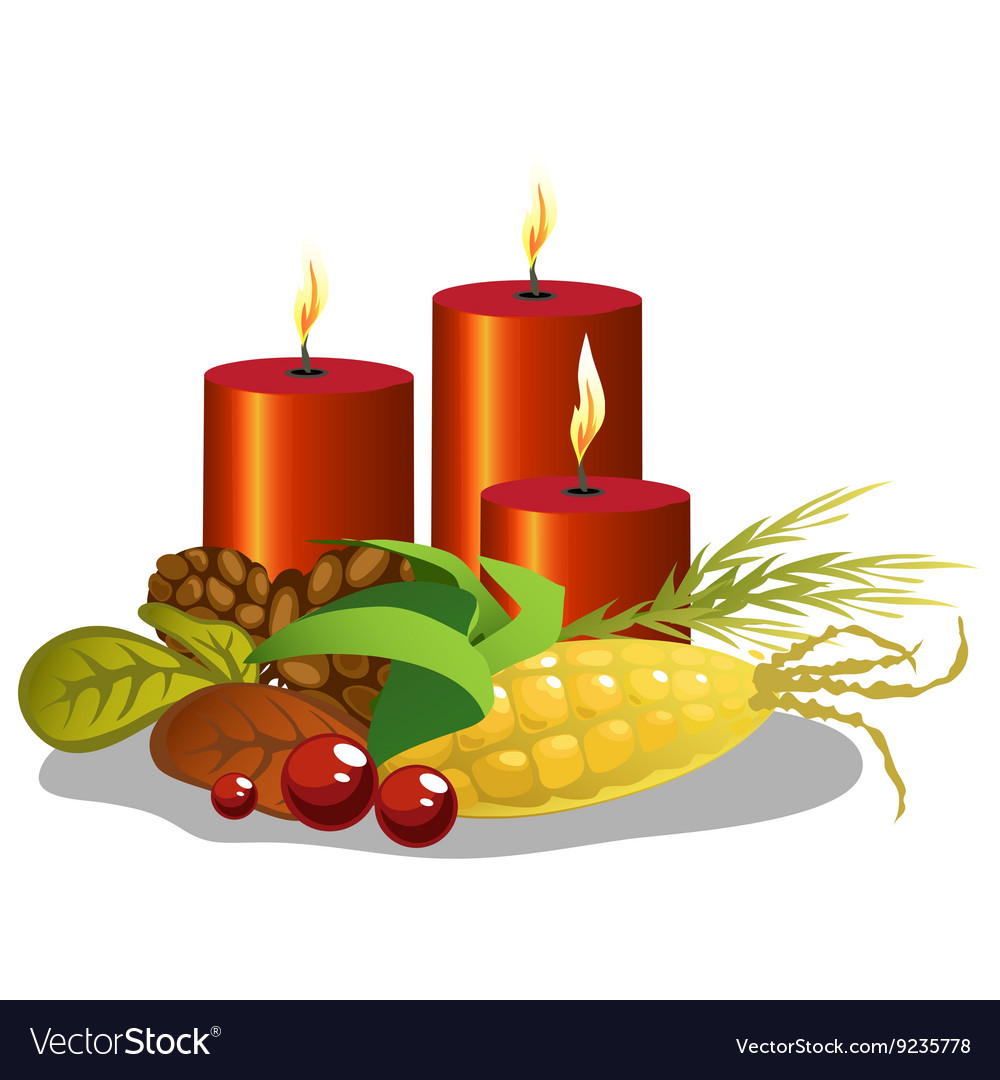 Red cylindrical candles with symbols of harvest vector