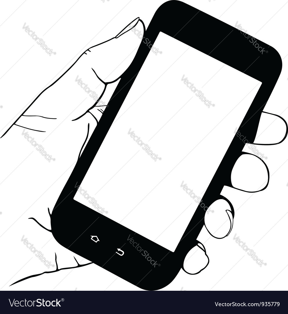 Hand holding mobile phone vector
