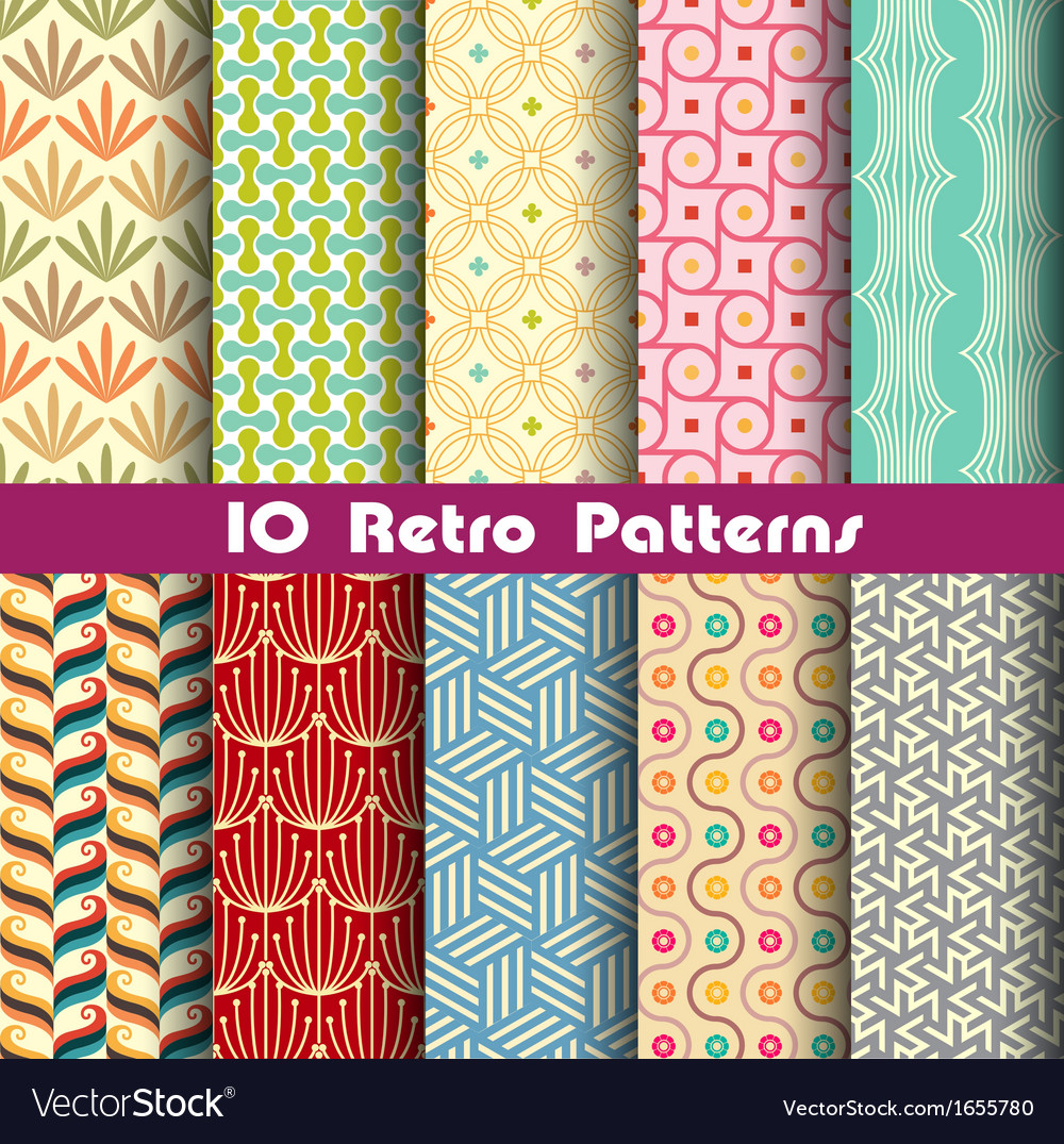 Retro pattern unit collection 2 vector
