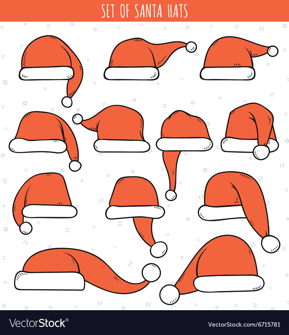 Set of 12 red doodle hats santa claus vector