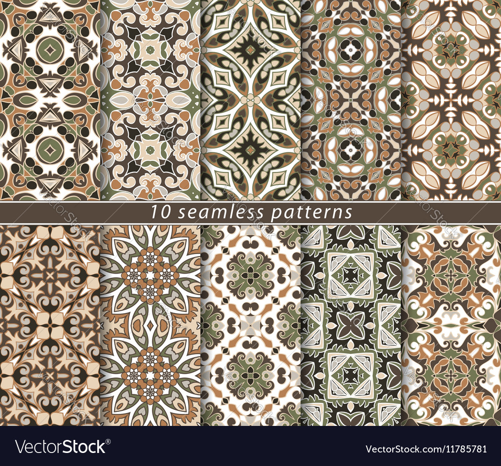 Set of ten seamless abstract patterns vector