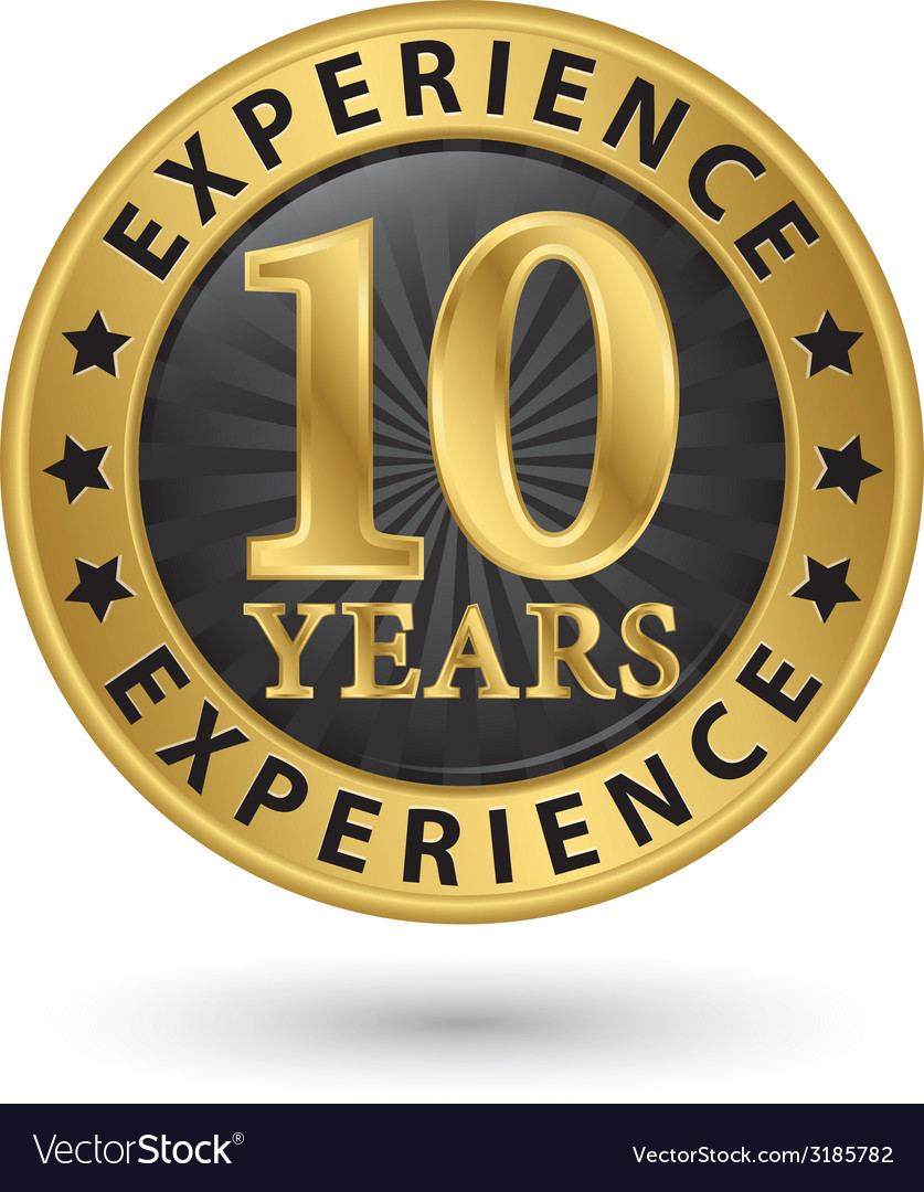 10 years experience gold label vector