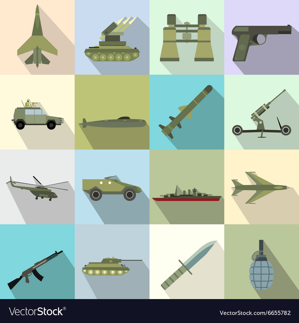 16 weapon flat icons set vector