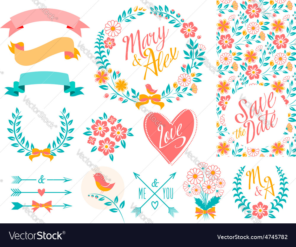 Big wedding set part 2 vector