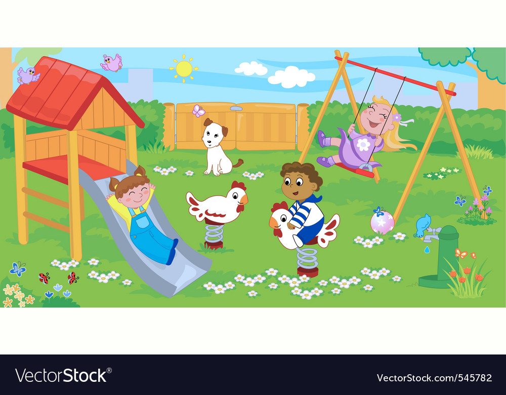 Children at the playground vector