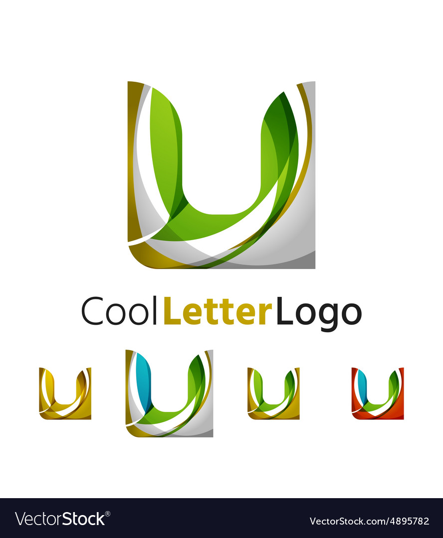 Set of abstract u letter company logos business vector